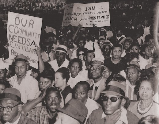 Crowd with Civilian Review Board Signs